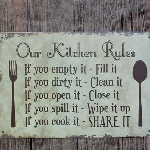 "Metal Painting ""OUR KITCHEN RULES"" Wall Art Decor Poster Iron Plate Vintage Hous"