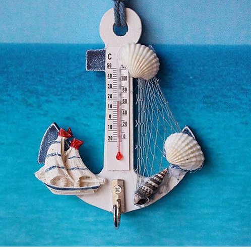 Wood Anchor Thermometer Crafts Art Wall Hanging Hook Meter Gauge Shell Nautical