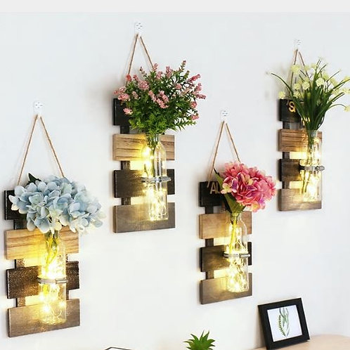 1PC Ins Style Mason Jar Sconces With LED Fairy Lights & Flowers Wall Light Rusti