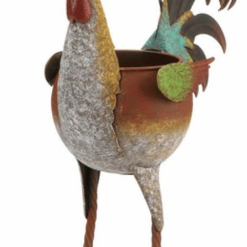 Multi-Colored Rooster Planter
