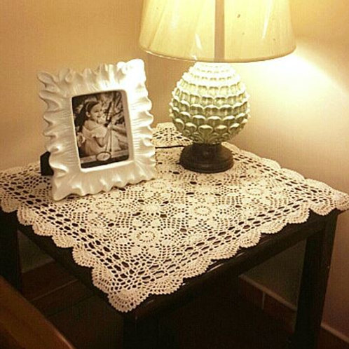 Handmade Cotton Crochet Tablecloth Vintage Linen Lace Tablecloth Tea Coffee Tabl