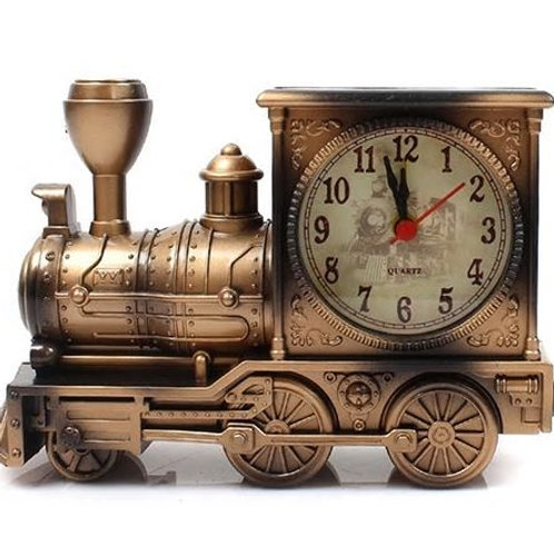 Cartoon Locomotive Train Alarm Clock Antique Engine Design Table Desk Decor