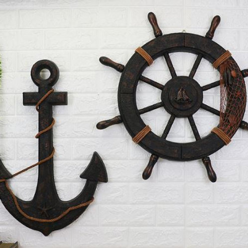 Ship Wooden rudder helm Ship Anchor antique home decor wall decoration vintage