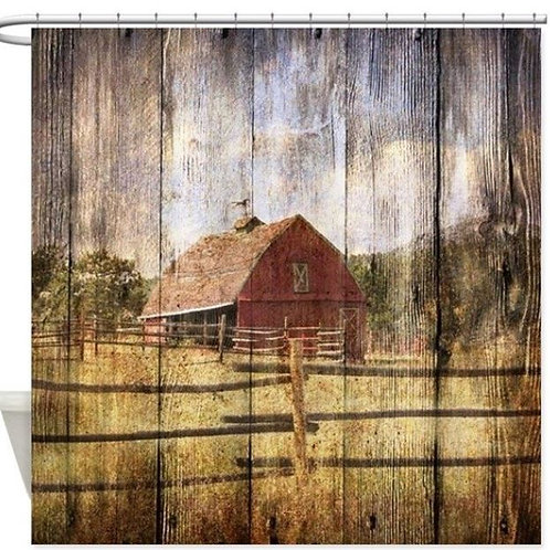 Western Country Red Barn Shower Curtain Mat Decorative Waterproof Polyester Fabr
