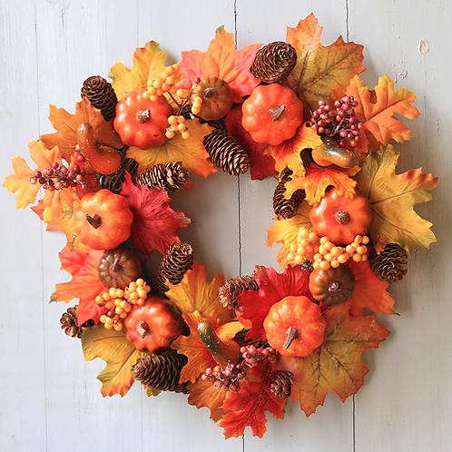 Wreath Decoration 40CM Halloween Pumpkin Berry Maple Leaf Fall Door Wreath Door