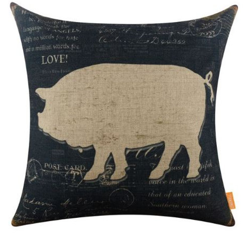 LINKWELL 45x45cm American Country Farm Series Pig in Black Vintage Design Countr