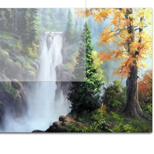 Unframed Waterfall Trees Valley Painting By Numbers Natural Scene Coloring By Nu
