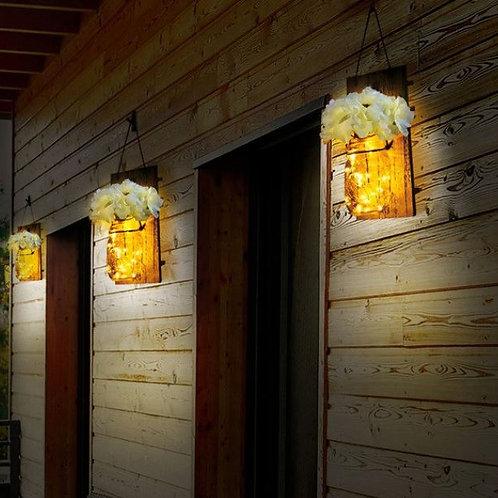 2PCs Ins Style Mason Jar Sconces With LED Fairy Lights & Flowers Wall Light Home