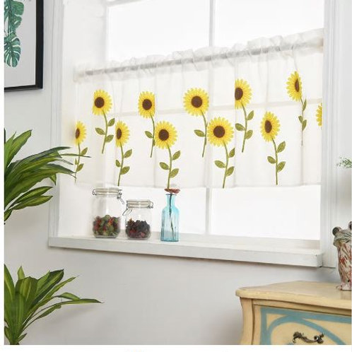 Modern Sunflower Embroidered Pelmet Voile Curtains For Kitchen Valance Coffee Wi