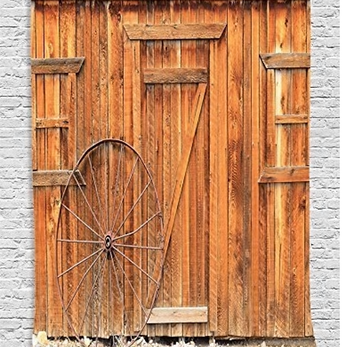 Western Decor Ancient West Rural Town Rustic Weathered Wooden Door and Vintage W