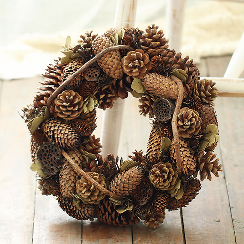 Pine Cones Flowers Wreath Home Decoration Craft Flowers Autumn Fake Flower