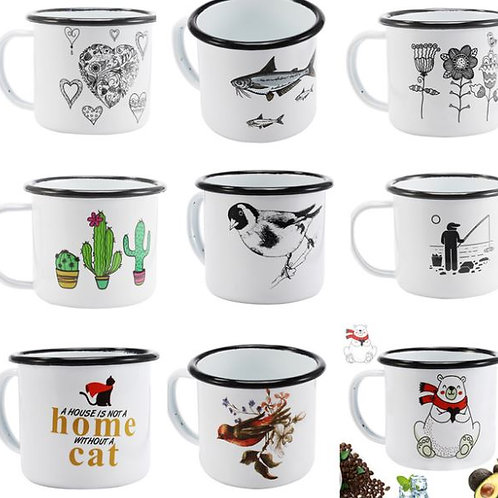 350 ml Enamel Coffee Mug Creative Animal Plant Breakfast Cup Black Roll Rim with