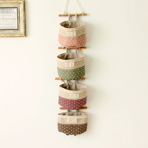 4Color Cotton linen hang bag sundry Wall Door Key Hanging Racks Series Storage