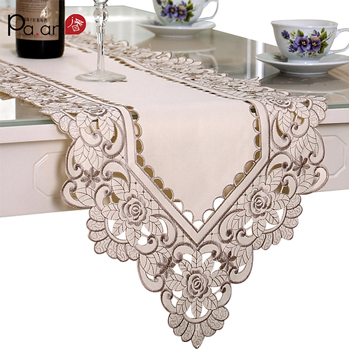 Europe Satin Table Runner Embroidered Floral Tables Cover 40x180/200/220cm