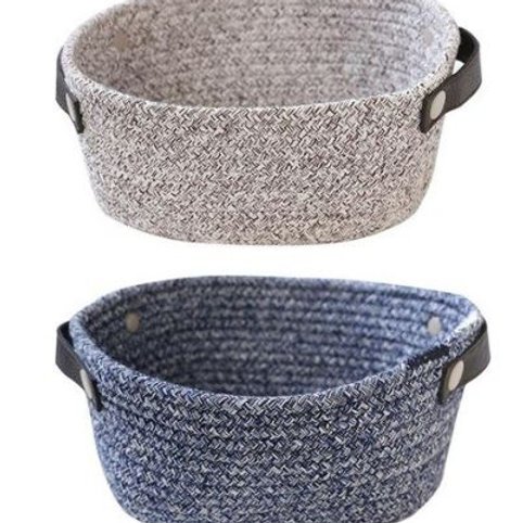 Storage Basket Nordic Style With Handle Design Rivets Reinforcement Rope To Stor