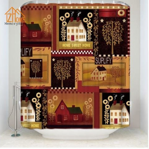 Memory Home Country Shower Curtain Bathroom Decor Home Sweet Home Primitive Amer