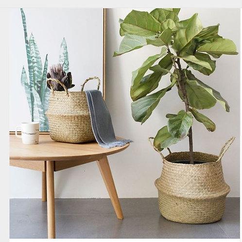 Foldable Natural Seagrass Woven Storage Pot Garden Flower Vase Hanging Basket Wi
