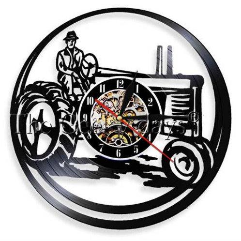 Vintage Farm Truck Wall Clock Harvester Vinyl Record Wall Clock Pickup Truck Tra