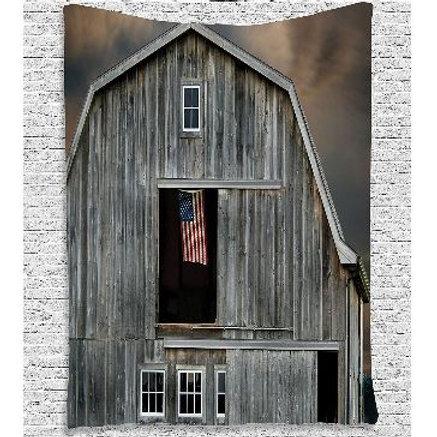 Farmhouse Decor American Flag Flying in a Hayloft Window Wooden Old House Dark E