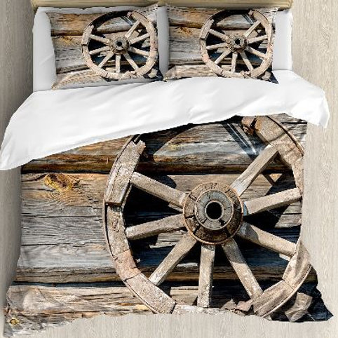 Barn Wood Wagon Wheel Duvet Cover Set Old Log Wall with Cartwheel Telega Rural C