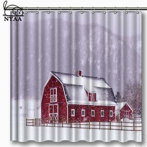 NYAA Bright Red Barn Covered With Snow surrounded With Wooden Fence Shower Curta