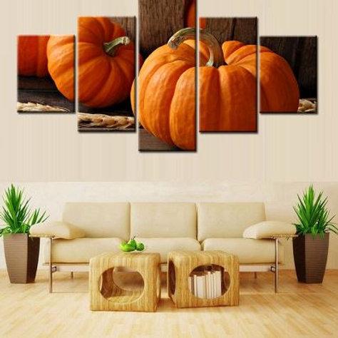 5PCS Pumpkin Kitchen Decor Festival Halloween Poster Canvas Wall Art Painting