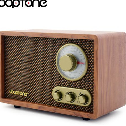 LoopTone Tabletop AM/FM Hi-Fi Radio Vintage Retro Classic Radio W/ Built-in Spea