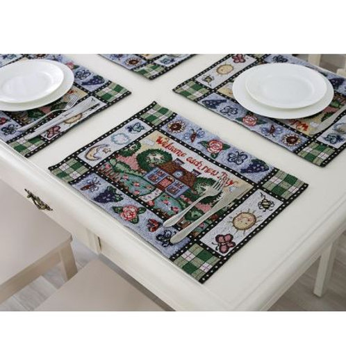 Americana style dinning table flag spring countryside Yarn dyed mats welcome eac