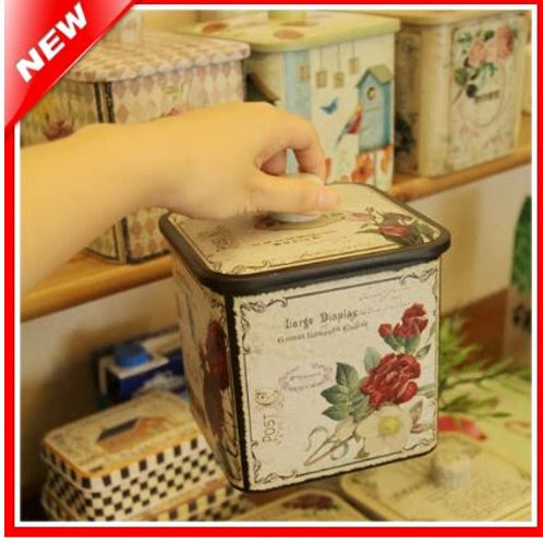 Country Style Home Decor Retro Tin Box Candy Biscuit Cookie Storage Metal Box Ca