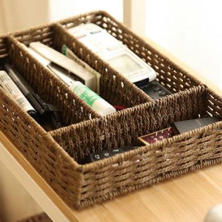 Storage Basket Makeup Organizer Tableware 4 Grid Paper Wicker Storage Box Woven