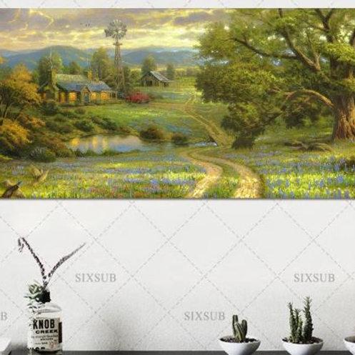 Lavender pastoral windmill farm Print canvas decorative painting home decor