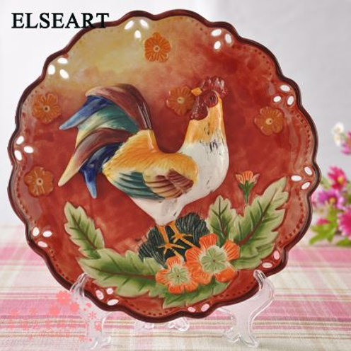 Ceramic country style cock decorative dish animal porcelain plates for wall hang
