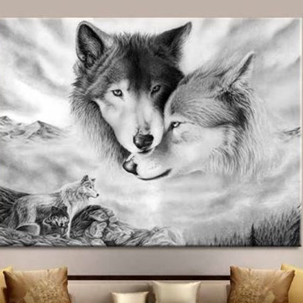 Black & White Wolf Nature Canvas Wall Art Painting Wild Wolf Art Decoration Hom