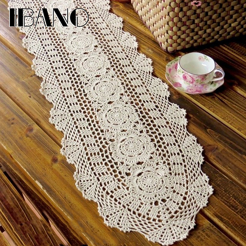 IBANO Cotton Crocheted Tablecloth Handmade Table Runner For Home Coffee Shop
