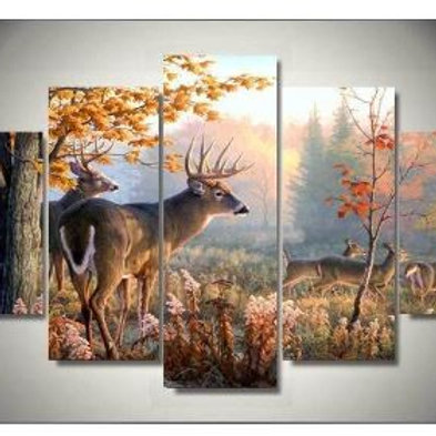 Art Abstract Framed Framed Large Framed Two Buck Deer Wildlife Nature canvas dec