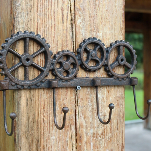 Vintage Industrial Accents Four Wheels Design Cast Iron Wall Hook with 4 Hanging
