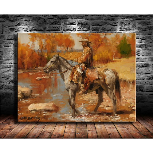 Andy Thomas western landscape cowboy style gift canvas painting living room