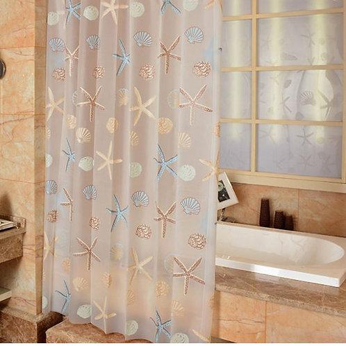 EHOMEBUY Modern Shower Curtain Starfish Partition Fresh Seaside Style Waterproof