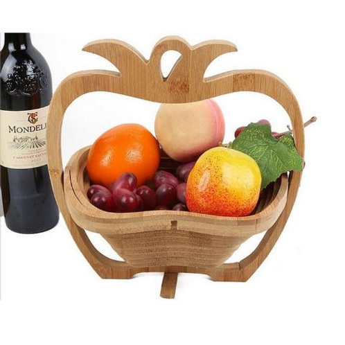 Wooden Retro Folding Apple Shape Picnic Fruit Baskets Bowl Holder Storage