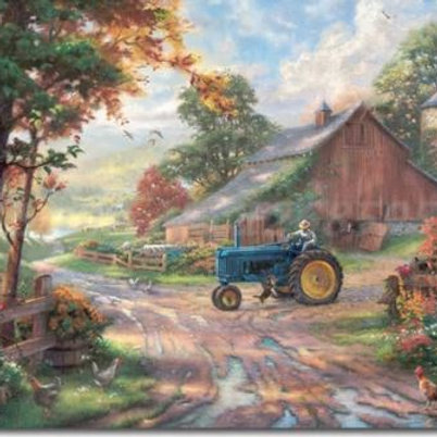 Barn Summer's Heritage By Thomas Kinkade Canvas Posters Prints Wall Art Painting