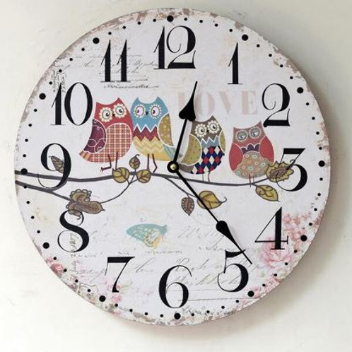 Countryside Home Decoration Wooden Pastoral Wall Clocks Shop Cafe Rastaurent Cre