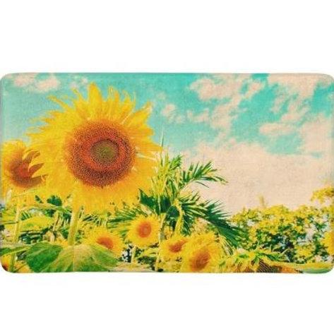 Field of Blooming Sunflower with Blue Sky Printed Indoor Doormat Bathroom Kitche
