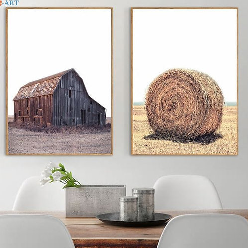 Golden Wheat Print Harvest Canvas Painting Farmhouse Wall Art Paintings on The W