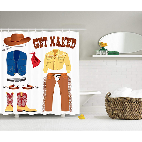 Western Shower Curtain Decor Southwestern Cowboy Hat and Scarf Boots American