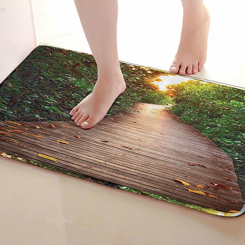 Wood Road Style Bathroom Mat,Funny Anti skid Bath Mat,Shower Curtains Accessorie