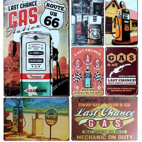 "Gas Station US Route 66 Vintage Home Decor Tin Sign 8""x12"" Metal Sign Bar/Pub Wa"