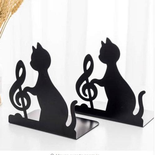New Cat Bookends Book Holder Black Animal Metal Art Bookend Vintage Table Deskto