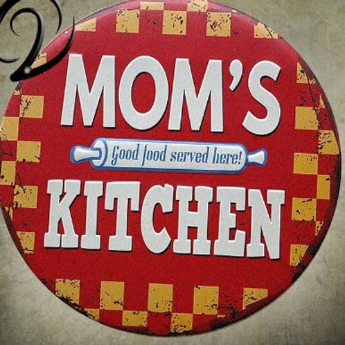Mom's Kitchen Good Food Served Here Tin Plaque Signs Shabby Chic Metal Sign Vint