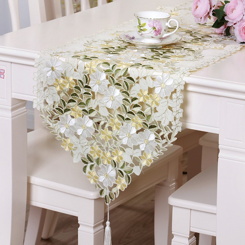 RAYUAN Embroidered Green Floral Cutwork Table Runner Tablecloth Wedding Banquet