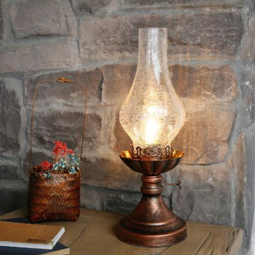 Retro Kerosene Lamp Led Table Lamp Living Room Bedroom Bedside Lamp Creative Cla